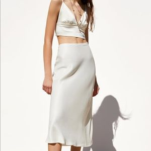 Zara White satin skirt